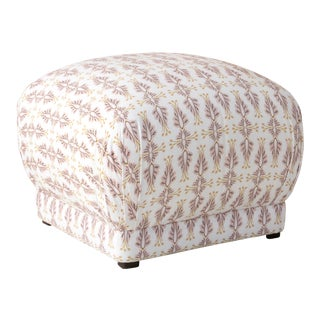 Square Ottoman in Chan Damask Blush Oga For Sale