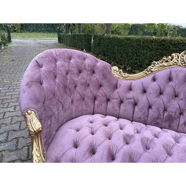 Not Yet Made - Made To Order New Purple French Louis XV Style Sofa. Made to Order For Sale - Image 5 of 8