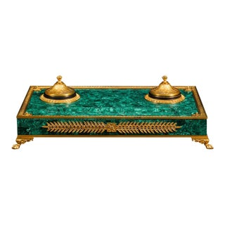 Russian Malachite and Bronze Inkwell For Sale