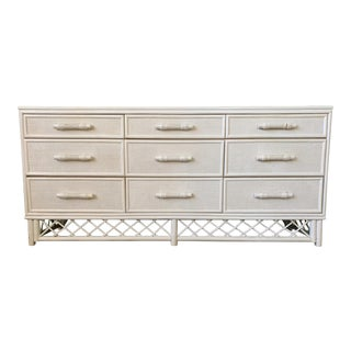 White Rattan Chinoiserie Skirted Dresser For Sale