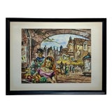 Image of 1954 French Market Watercolor Painting by Frank Howard Bowers For Sale