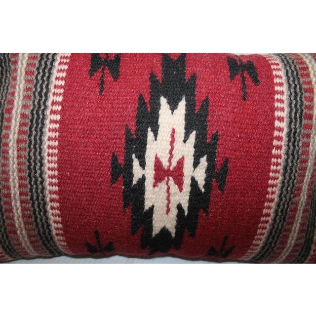 Pair of Geometric Indian Weaving Fringed Pillows - Image 3 of 3