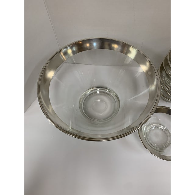 Mid-Century Modern 1960s Dorothy Thorpe Silver Rim Glass Salad Bowl Set - 7 Pieces For Sale - Image 3 of 8