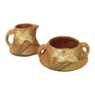Roseville Pottery Cream and Sugar - Set of 2 For Sale