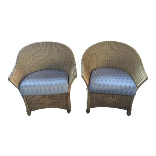 1970s Vintage Wicker Club Chairs - A Pair