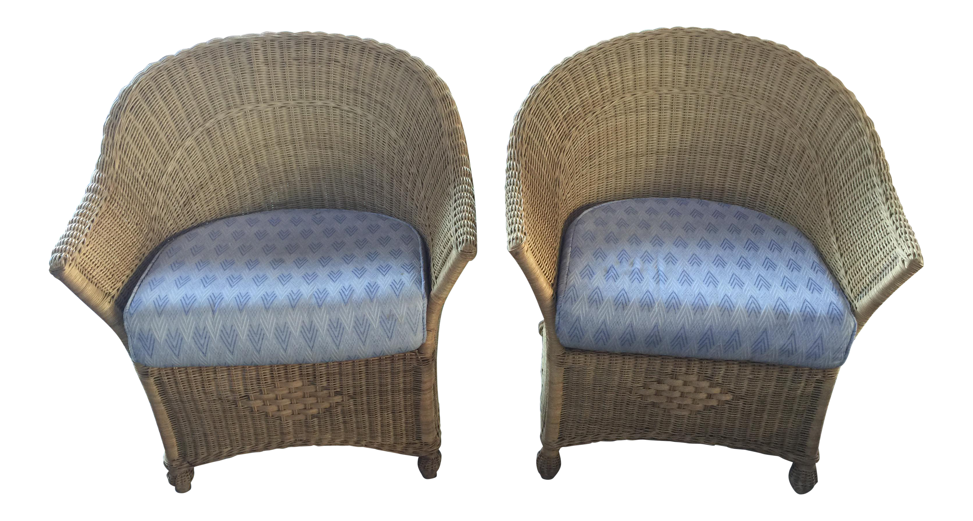 1970s Vintage Wicker Club Chairs   A Pair