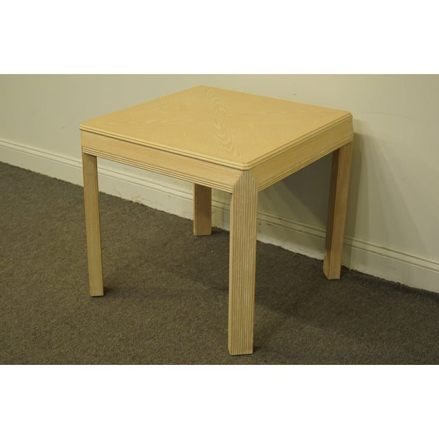 """Drexel Heritage transitions collection contemporary blonde 27"""" square accent end table. We specialize in high end used..."""