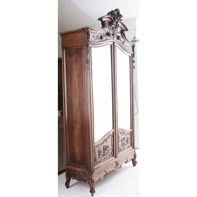 French 19th Century Louis XV Carved Walnut Mirror-Front Armoire For Sale - Image 10 of 10