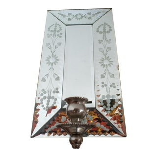 1980s Single Etched Mirrored Sconce For Sale