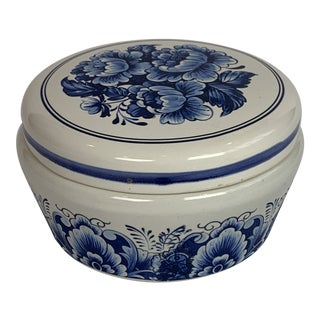 Estée Lauder Blue and White Youth Dew Porcelain Covered Jar For Sale