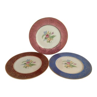 Gilded Floral Plates - Set of 3 For Sale