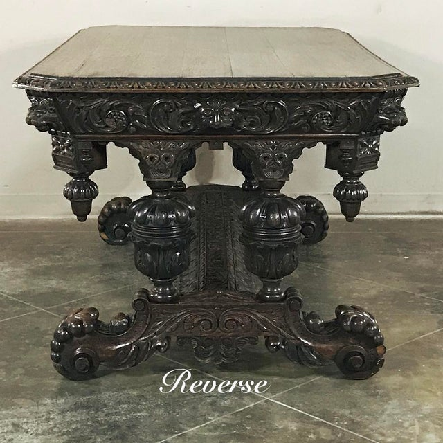 19th Century French Renaissance Writing Table With Dolphins For Sale In Baton Rouge - Image 6 of 13