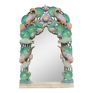 Hand Carved Tropical Bird Mirror For Sale
