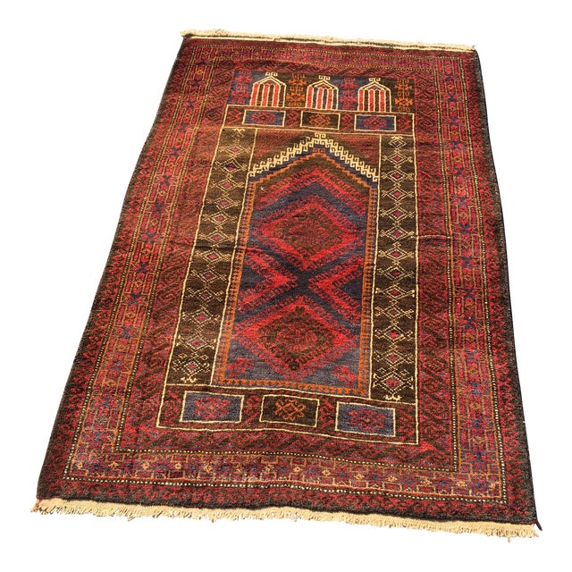 Vintage Persian Baluchi Small Area Rug- 2′10″ × 4′4″ - Image 1 of 8