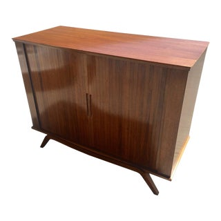 Mid Century Modern Cabinet With Tambour Doors For Sale