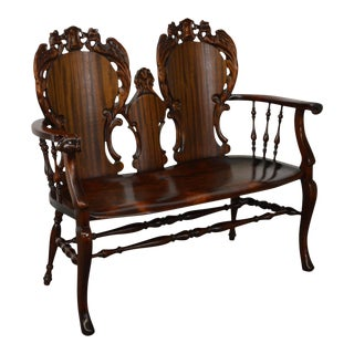 Antique Victorian Dragon Carved Mahogany Settee