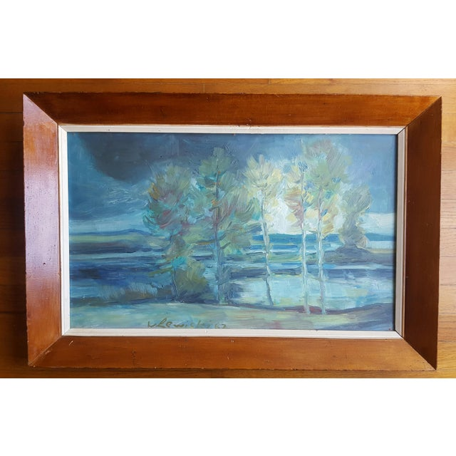 Estate sale found, I loved the impressionistic soft palette of this outdoor landscape, acrylic on artist board in its...
