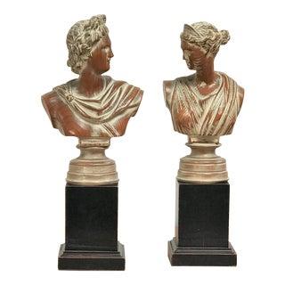 1940s Mid Century Classicism Italian Poplar Wood Portrait Bust - a Pair For Sale
