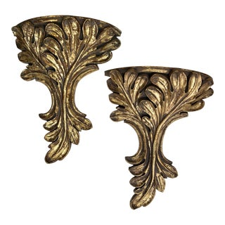 20th Century Rococo Carved Gilt Wood Wall Shelves - a Pair For Sale