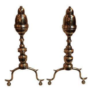 Antique Brass Andirons - Pair For Sale