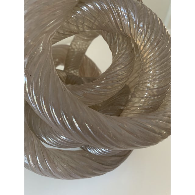 Mid 20th Century Twisted Rope Glass Knot Sculpture For Sale In Miami - Image 6 of 10