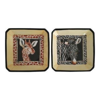 Vintage Whimsical Giraffe and Zebra Decorative Trays - a Pair For Sale