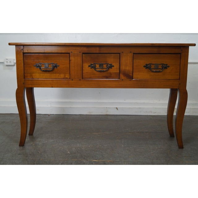 Custom French Country Cherry Wood Console Tables - A Pair - Image 10 of 10