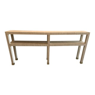 Contemporary Society Social Natural Grasscloth Console For Sale