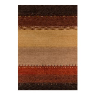 """Momeni Desert Gabbeh Hand Knotted Multi Wool Area Rug - 3'9"""" X 5'9"""" For Sale"""