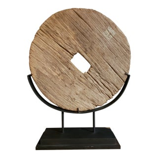 Vintage Mid Century Thai Teak Wheel on Stand For Sale