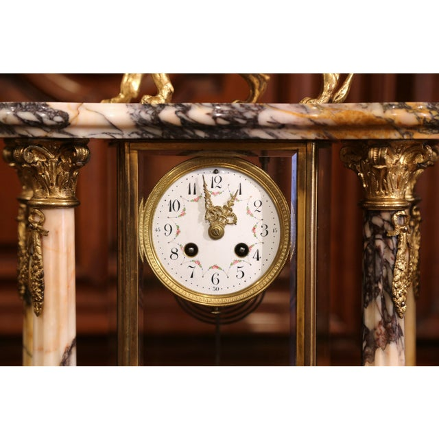 Empire 19th Century French Marble and Bronze Mantel Clock With Matching Cassolettes For Sale - Image 3 of 13
