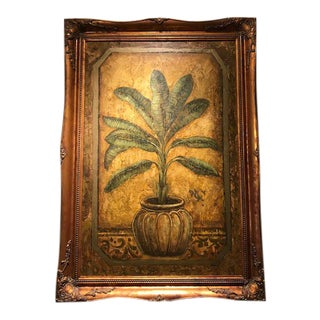 1980s Vintage Palm Tree Oil Painting For Sale