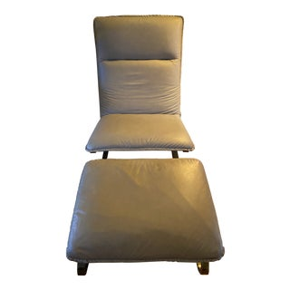 Mid Century Dia Grey Leather Chair and Ottoman For Sale