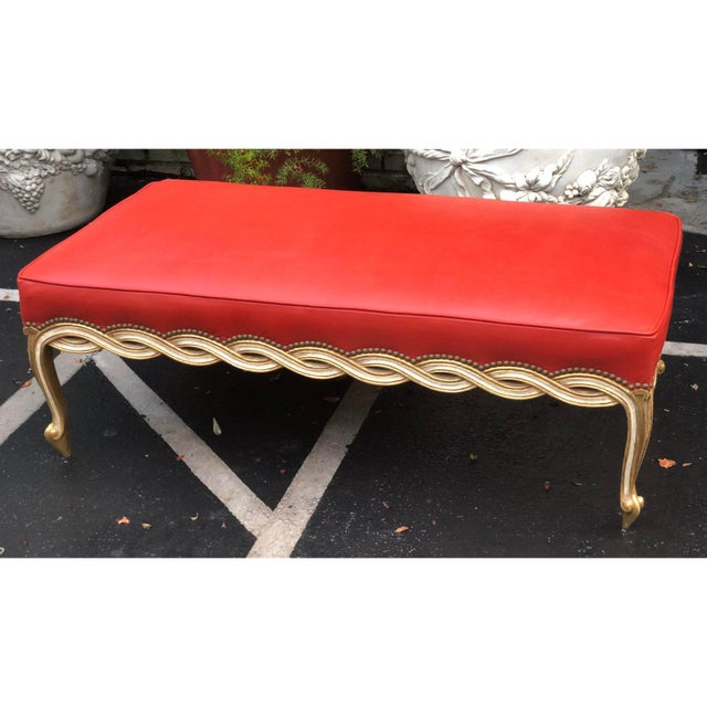 Regency Regency Style Leather Ribbon Bench by Randy Esada Designs for Prospr For Sale - Image 3 of 5