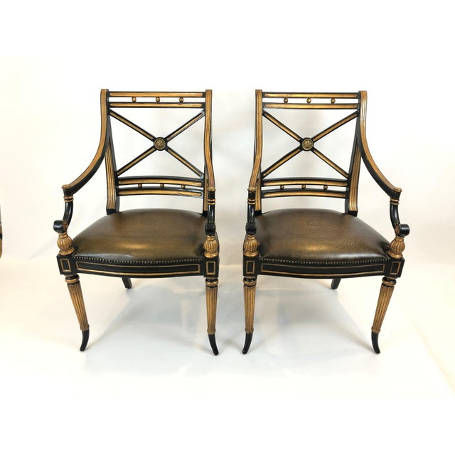 Regency Black and Gilded Armchairs With Leather Seats - a Pair For Sale - Image 13 of 13