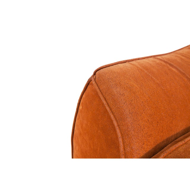 Mid-Century Modern Orange Suede Italian Easy Chairs For Sale - Image 6 of 7