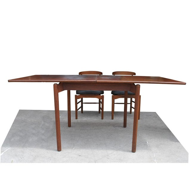 Mid-Century Modern 1960s Vintage Greta Grossman Teak Expandable Dining Table and Chairs - 5 Pieces For Sale - Image 3 of 12