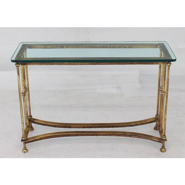 Gold Gild Iron Base Glass Top Console Table For Sale - Image 9 of 9