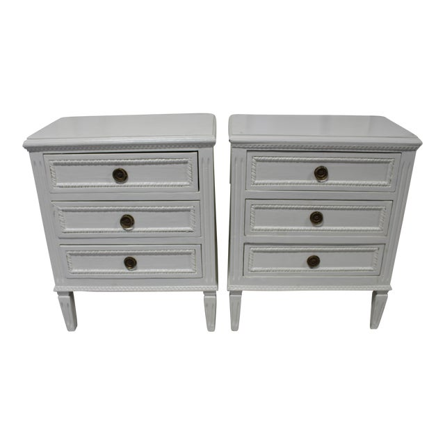 20h Century Gustavian Dove Wing Bedside Chests - a Pair For Sale