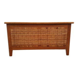 1960's Poul Hundavad Danish Woven Cane and Teak Blanket Chest For Sale