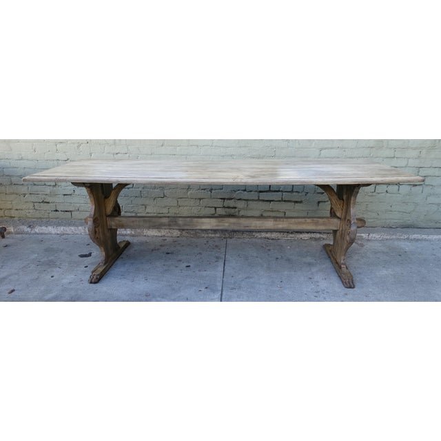 19th C. Carved Italian Trestle Dining Table - Image 2 of 11