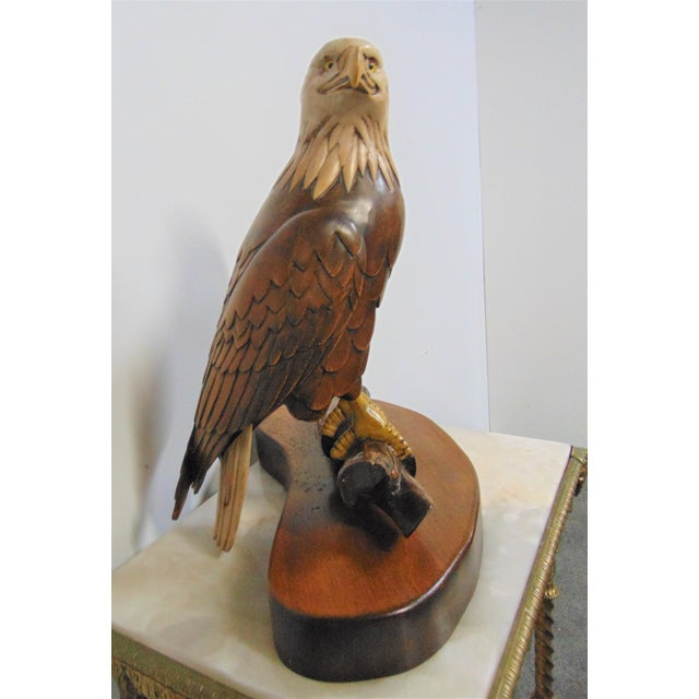American Hand Carved American Bald Eagle Statue For Sale - Image 3 of 7