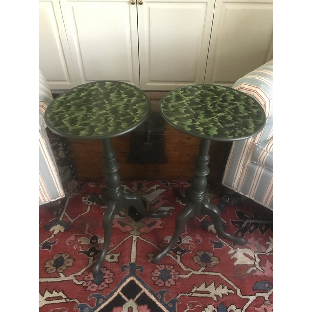 Boho Chic 20th Century Regency Faux Tortoise Shell Top Side Tables - a Pair For Sale - Image 3 of 7