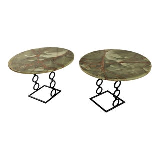 1970s Hollywood Regency Green Onyx Wrought Iron Base Side Tables - a Pair For Sale