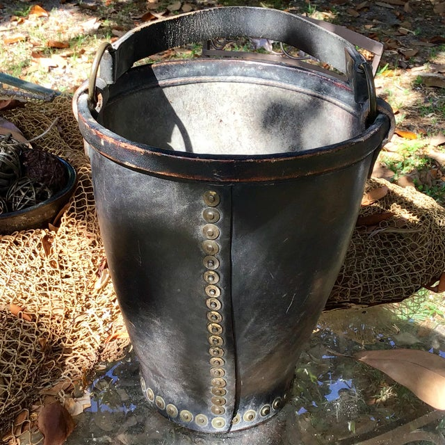 Gold Leather Fire Bucket With Brass Rivets and Crest For Sale - Image 8 of 11