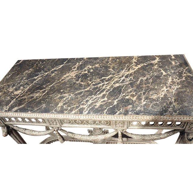 19th Century Louis XVI Carved Painted Faux Marble Top Consoles - a Pair For Sale - Image 5 of 9
