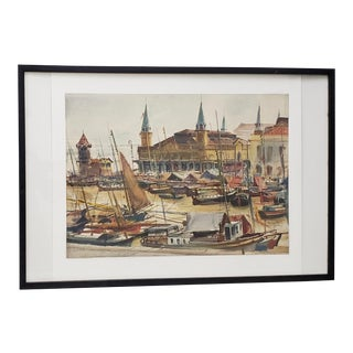 """1960's Arthur Shilstone """"Belem, Brazil"""" Original Watercolor painting For Sale"""