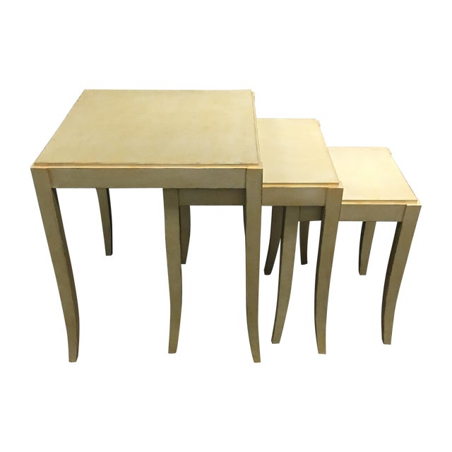 New Loggia Showroom Wooden Nesting Tables With Metallic Finish - 3 - Image 1 of 7