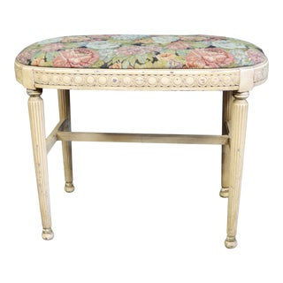 Louis XVI Style Cream Vanity Bench For Sale