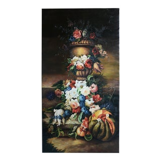 Vintage Oil Painting Still Life on Canvas. Flowers and Fruits For Sale